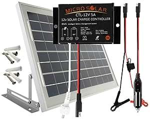 microsolar 10w solar panel charging kit for 12v battery plug play solar. Black Bedroom Furniture Sets. Home Design Ideas