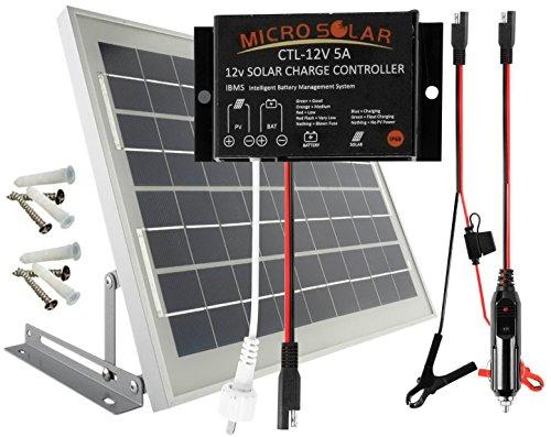 Solar Panel 12v Extension Cord : Microsolar w solar panel charging kit for v battery