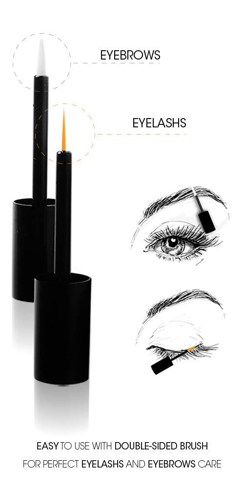 NEOVI TWO-IN-ONE 6ml Eyelash Eyebrow Enhancing ACTIVATING SERUM with Hyaluronic Acid For Long, Luscious Lashes Eyebrows without Hormones Cruelty Free- Dermatest Rated EXCELLENT in Cosmetics