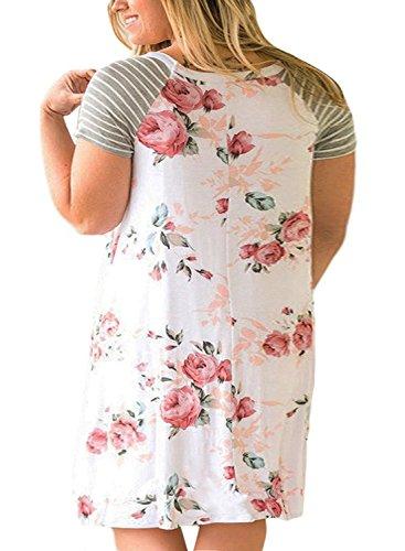 Imprimé Floral Rayé Femmes, Plus Sheleau Robe Taille Manches Courte Ligne Robes T-shirt Loose Blanc