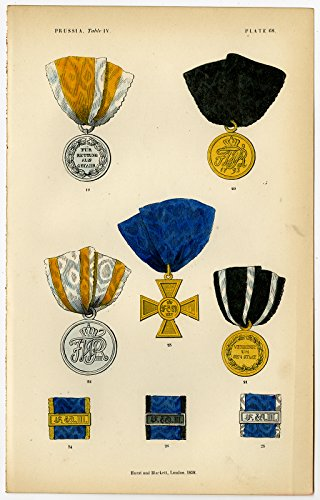 Antique Print-ORDER-MEDAL FOR MILITARY MERIT-PRUSSIA-GERMANY-PLATE 68-Burke-1858