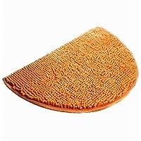 Ustide Microfiber Shag Rug Orange Half Round Rug Non-Slip Absorbent Mat Soft Floor Mat for Bath/Foyer Small