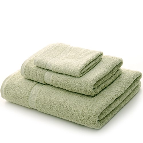 cheer collection soft absorbent towels nice solid sage green 3 piece towel set for the home. Black Bedroom Furniture Sets. Home Design Ideas