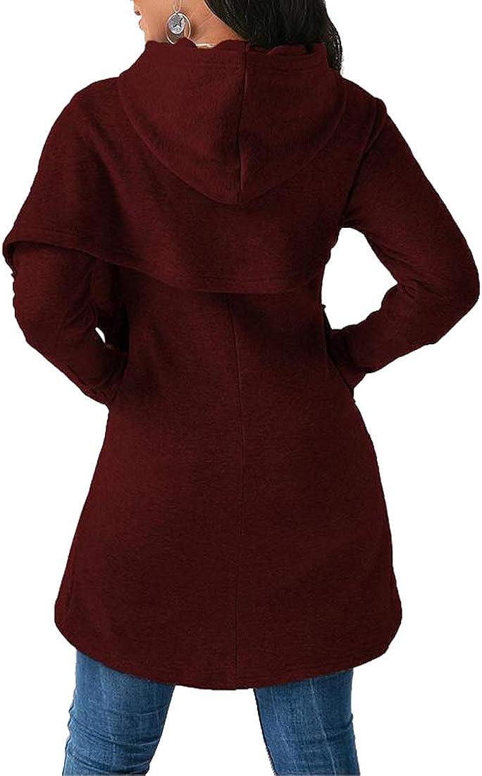 kefirlily Dolman Manica Lunga da Donna 2-in-1 Lungo Autunno Inverno Hoodie Pullover con Cappuccio
