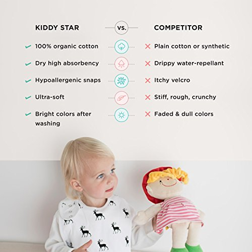 Premium, Organic Cotton Toddler Bibs, Unisex 5-pack Extra Large Baby Bibs for Girls by KiddyStar, Perfect Baby Shower Gift for Feeding, Drooling and Teething, Adjustable 5 Positions by KiddyStar (Image #6)