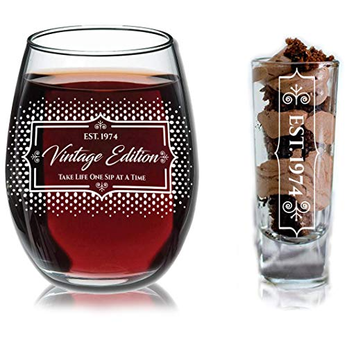 1974 45th Birthday Gifts Under $10 for Women and Men Wine Glass - Funny Vintage Birthday/Anniversary Gift Ideas for Mom, Dad, Husband or Wife - Wine Glasse + Shot Glass for Red or White Wine