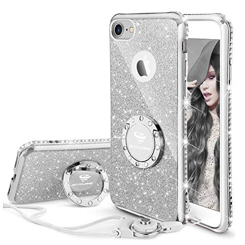 OCYCLONE iPhone 8 Case, iPhone 7 Case for Girl Women, Glitter Cute Girly Diamond Rhinestone Bumper with Ring Kickstand Protective Phone Case for iPhone 8 / iPhone 7 - Silver