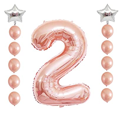 Rose Gold Number 2 Balloon Year Old Age Birthday Balloons