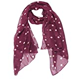 Anti Aging Lace Face Mask PAAT SHOP Womens Fashion Scarf Wrap Shawl Polka Dot Print Long Soft Chiffon Scarves Stole (Red)