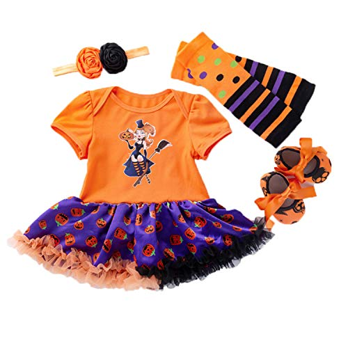BabyPreg Baby Girls Halloween Skeleton Tutu Dress Set, Infant Pumpkin Costume (Witch, S for 3-6 Months) ()
