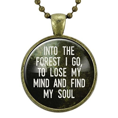 Into The Forest I Go Necklace, Travel Quote, John Muir Quote, Gift for Hiker, Wilderness Jewelry, Wanderlust Pendant, Hiking Gifts, Gift Idea For Nature Lover