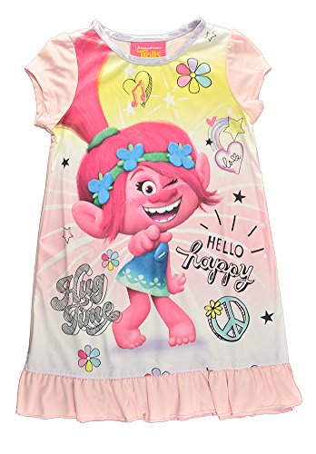 Trolls Little Girls Toddler Charcter Print Pink Pajama Nightgown (2T) by Trolls