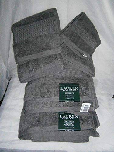 Lauren Greenwich Dark PEBBLE Grey / Gray Towels Six Piece Set - 2 Bath, 2 Hand, 2 Washcloths