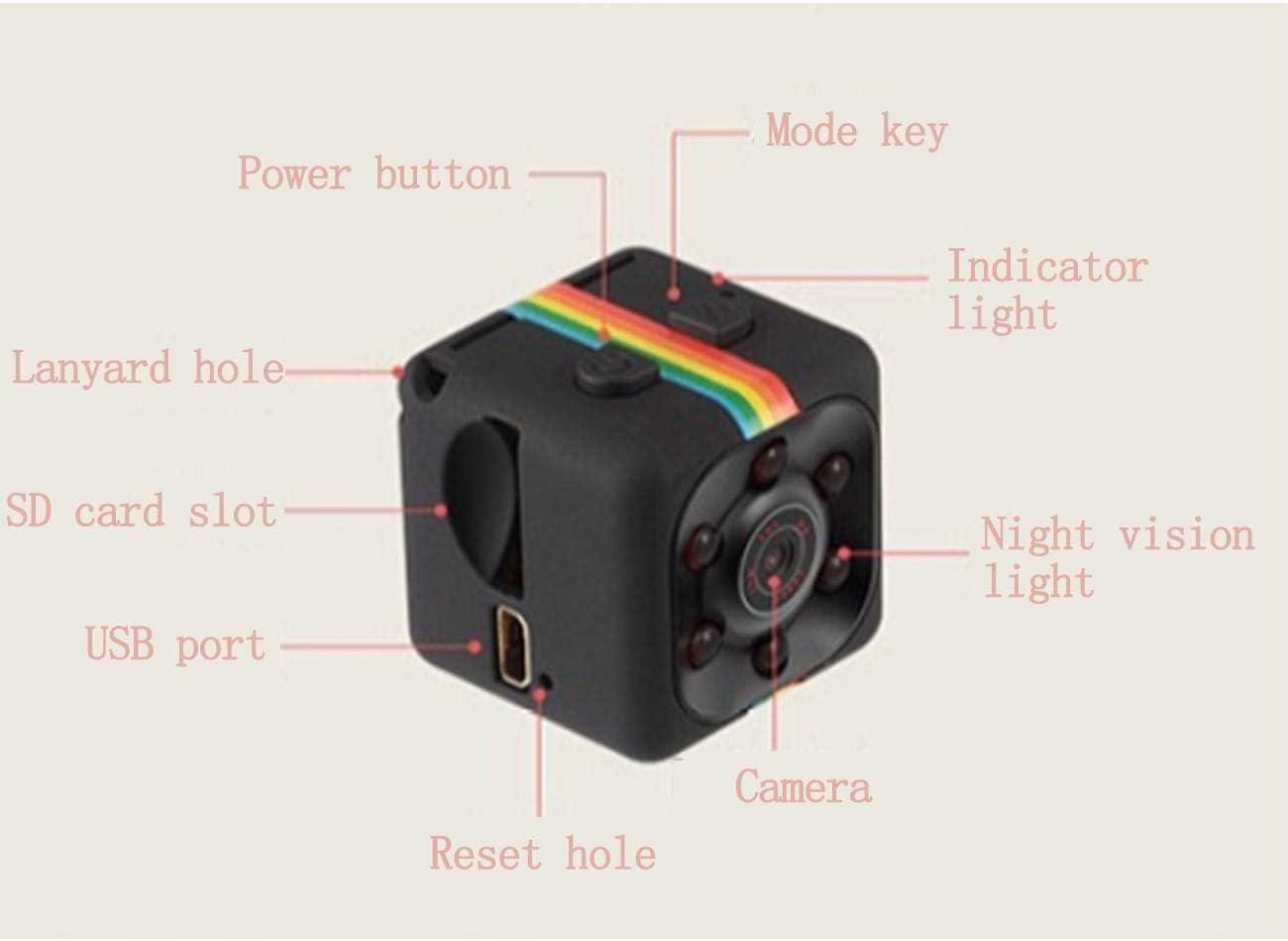 Lovearn Mini Camera Sq11 Camcorder Hd 1080p Camcorder Sport Mini Dv Videorecorder Spion Kameras Mit Nachtsicht Und Bewegungserkennung Überwachungskamera Black Küche Haushalt