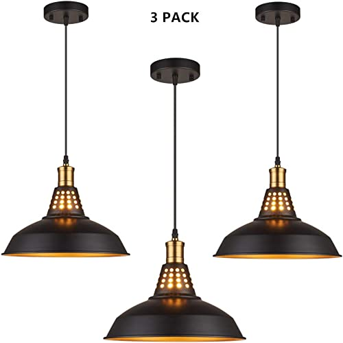 Amabao Lighting, Black Finish Metal Industrial Plug in Ceiling Pendant Light with On Off Switch, Bulb Not Included 3-Pack
