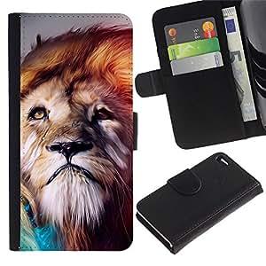 """Apple iPhone 4 / iPhone 4S , la tarjeta de Crédito Slots PU Funda de cuero Monedero caso cubierta de piel ("""" Lion Wind Majestic Creature Animal Nature"""")"""