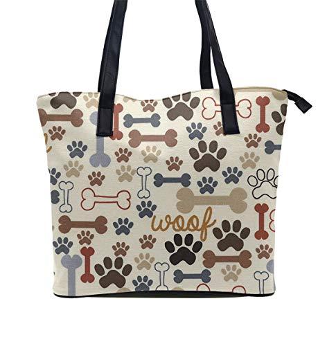 (Casual Stylish Women Tote Bag Leather Zipper Handbag with Inner Pouch - Dog Bones Paw Prints Cream Shoulder Bag)