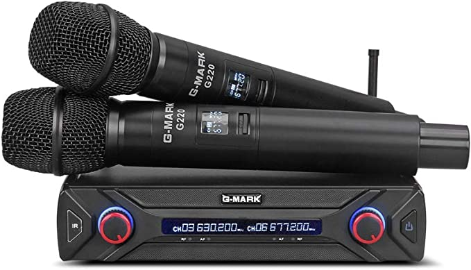G Mark G220 Wireless Microphone System Uhf Handheld Karaoke Mic Home Party Stage 2 Channels Home Audio Theater Amazon Com