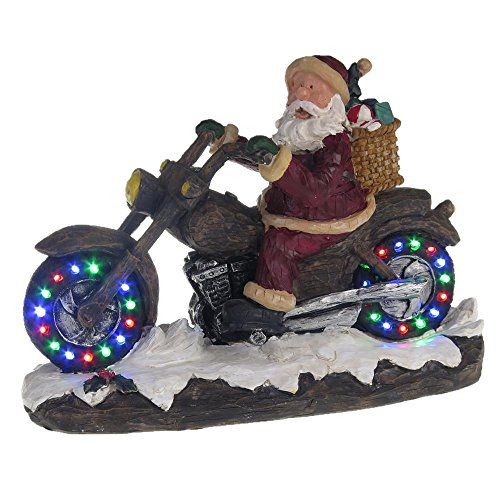 Lightahead PolyResin Santa on Motorcycle with Multi Colored running LED lights, and Musical with 8 - On Motorcycle Santa