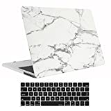 MacBook Pro 13 Case 2017 & 2016 Release A1706/A1708, ProCase Hard Case Shell Cover and Keyboard Skin Cover for Apple Macbook Pro 13 Inch with/without Touch Bar and Touch ID -White Marble Pattern