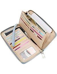 Womens RFID Blocking PU Leather Zip Around Wallet Clutch Large Travel Purse