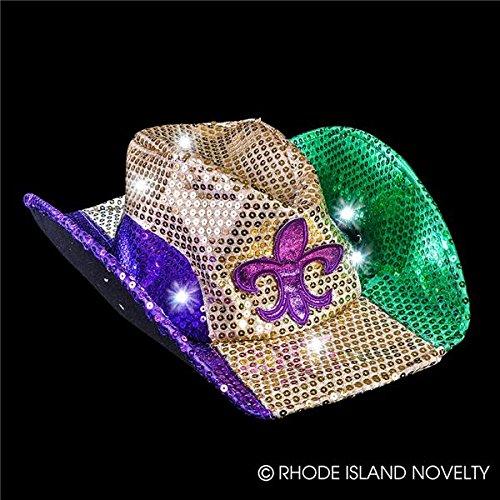 Price comparison product image GIFTEXPRESS Light Up Mardi Gras Cowboy Hat/ Mardi Gras Sequin Cowboy Hat/ Mardi Gras LED Cowboy Hat/ Mardi Gras Costume Hat