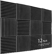 """Kuchoow 12 Pack Sound Proof Foam Panels 1"""" X 12"""" X 12"""" Foam for Walls Sound Absorbing Foam Padd"""
