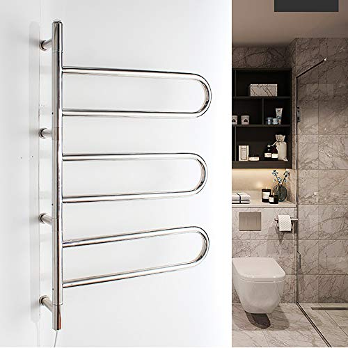 Wall-Mounted Electric Towel Warmer, 180° rotatable Electric Towel Rack Heated Towel Rail Warmer Radiator Low-Power Moving, Stainless Steel