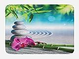 Ambesonne Spa Bath Mat, Sand Orchid Massage Stones in Zen Garden Sunny Day Meditation Yoga, Plush Bathroom Decor Mat Non Slip Backing, 29.5 W X 17.5 W inches, Blue Fern Green Fuchsia