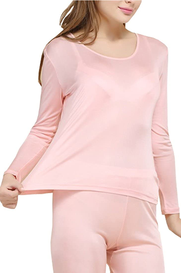 Fashion Silk Women's Thermal Underwear Sets Knit Silk Top & Bottom Base Layering Sets