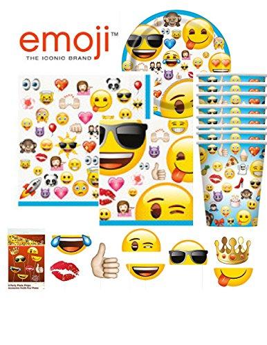 Emoji Tableware Party Pack with Dinner Plates, Dinner Napkins, Dessert Plates, Beverage Napkins and Cups PLUS Emoji Photo Props