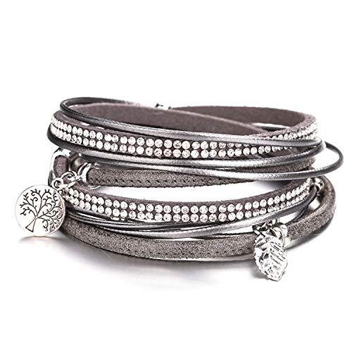 r Women Tree of Life Charm Bracelets Bangles Boho Multilayer Double Wrap Bracelet Female Jewelry(Adjustable,Gray) ()