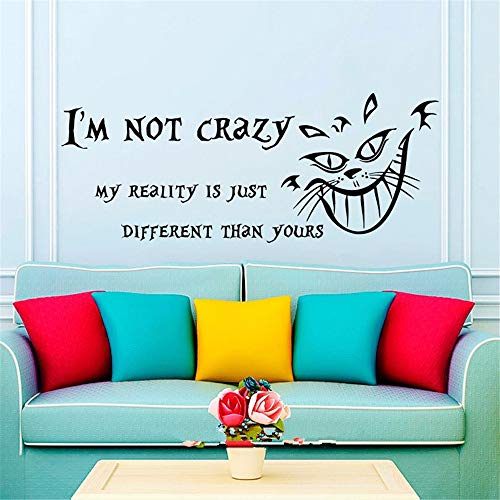 Wall Decals Quotes Alice in Wonderland Wall Decal Quote Cheshire Cat Sayings I'm Not Crazy Wall Vinyl Decals Nursery Home Decor -