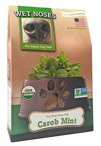 Wet Noses All Natural Dog Treats, Made in USA, 100% USDA Certified Organic, Non-GMO Project Verified, Carob & Mint, 14 oz Box