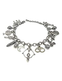 Teen Wolf Inspired Charm Bracelet with Triskelion & Spiral Symbol- Scott Mccall Stiles Derek Hale Jewelry