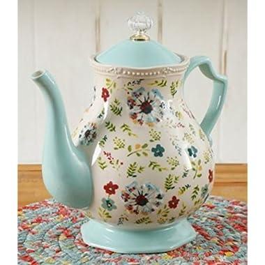 The Pioneer Woman Stoneware Kari 2.4 Quart Stylish Floral Tea Pot