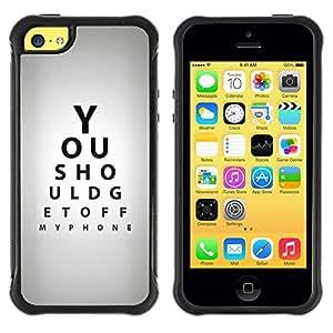 Fuerte Suave TPU GEL Caso Carcasa de Protección Funda para Apple Iphone 5C / Business Style Optometrist Eye Test Quote Gray Black