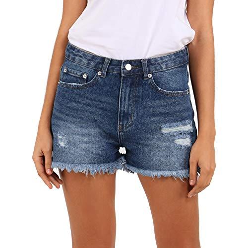HOCAIES Women Frayed Ripped Short Jeans High Rise Mom Pants Raw Hem Denim Jean Shorts (US-8 / 29W, Dark Denim)