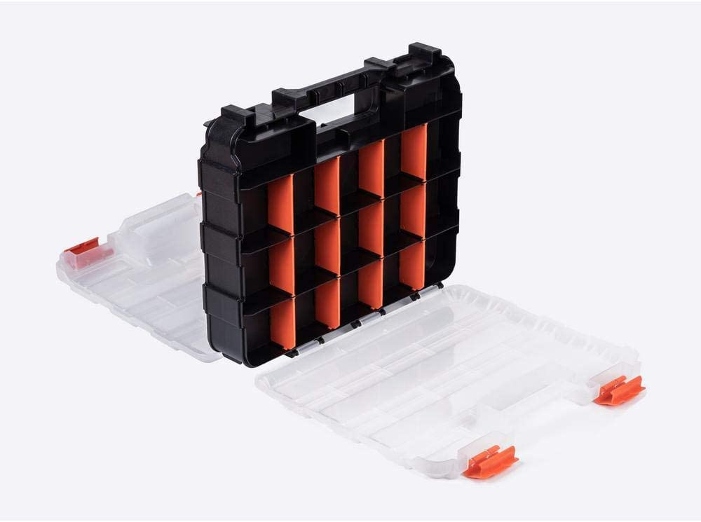 HDX 320028 34-Compartment Double Sided Organizer with Impact Resistant Polymer and Customizable Removable Plastic Dividers, Black/Orange - -