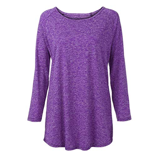 Top S Robe Blouse Dcontract Femme Femme Chemise Tunic GongzhuMM Couleur Long Grande Sexy Unie Pullover Violet Sweatshirt 5XL Chemisier Taille Chic ZUwvqxf