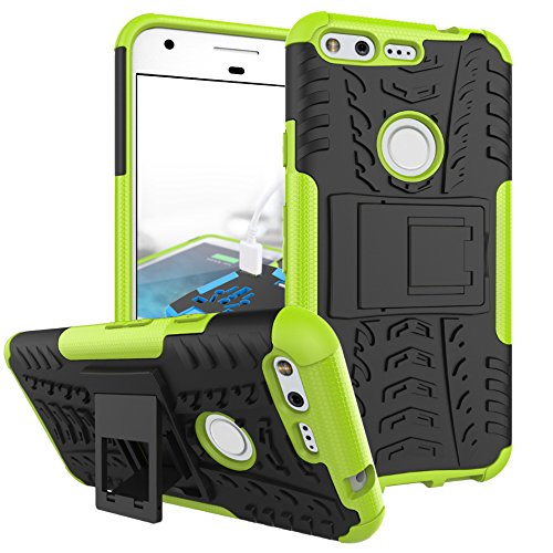 Price comparison product image Google Pixel Case,  GreenElec Hybrid Dual Layer Armor Protection Defender Plastic Shell + TPU Rubber Inner Kickstand Belt Clip Holster Case for HTC Google Pixel (Green)