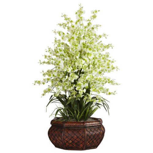 (Nearly Natural 1244-GR Large Dancing Lady with Round Vase Silk Arrangement, Green)