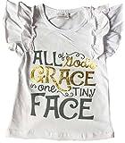 BluNight Collection Little Girl Kids Cap Sleeve Letter Print Summer Cotton Shirt Top Tee T-Shirt White 7 XXL (Grace TOP)