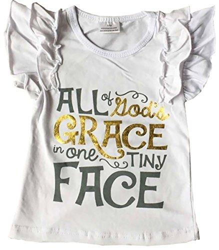 (Little Girl Kids Cap Sleeve Letter Print Summer Cotton Shirt Top Tee T-Shirt White 9 XXXXL (Grace TOP))