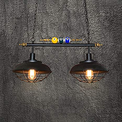 Lakiq Hanging Pendant Light 2 Lights Pool Table Lighting Fixture Industrial Vintage Kitchen Island Lighting Bowl Cage Shade With Billiard Ball Decoration For Gaming Room Dining Room Restaurant Amazon Com