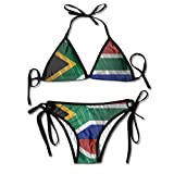 Bling South Africa Flag Womens Sexy Adjustable Swimsuit Bikini Set