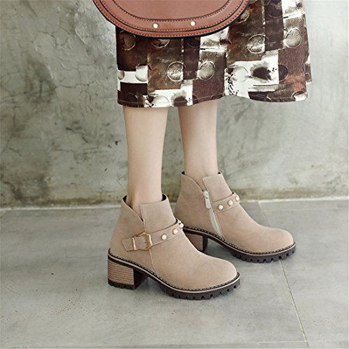Mujeres de Altos Botas y Mujer Tacones apricot Sandalette Botas la de Gran Las tamaño Tubo bajo Moda de Botas de DEDE g8qxWqtwE