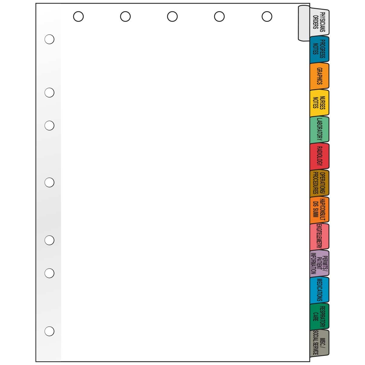 Filepro CD13 100# White Side Tab Position Chart Divider, Mylar Reinforced Tab, 13 Titles, 11'' Length x 8.5'' Width (Box of 23)