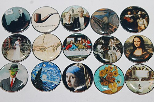 Geocache Refrigerator Magnets - Famous Paintings - Works Of Art Set