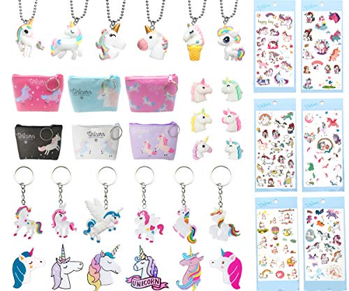36 Pack Unicorn Party Favors Supplies - Best Friend Unicorn Brooch, Coin Purse, Rings, Necklaces, Stickers, Keychains for Birthday Rainbow Gifts Toys ()